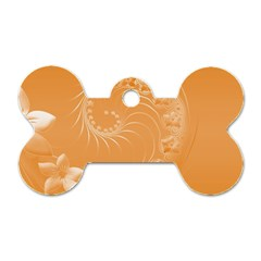 Orange Abstract Flowers Dog Tag Bone (one Sided) by BestCustomGiftsForYou