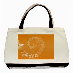 Orange Abstract Flowers Twin Sided Black Tote Bag by BestCustomGiftsForYou