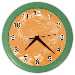 Orange Abstract Flowers Wall Clock (color) by BestCustomGiftsForYou