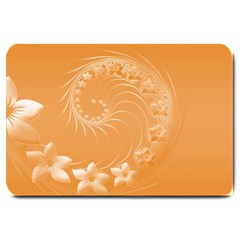 Orange Abstract Flowers Large Door Mat by BestCustomGiftsForYou