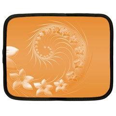 Orange Abstract Flowers Netbook Case (large) by BestCustomGiftsForYou