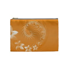 Orange Abstract Flowers Cosmetic Bag (medium)
