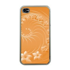 Orange Abstract Flowers Apple Iphone 4 Case (clear) by BestCustomGiftsForYou