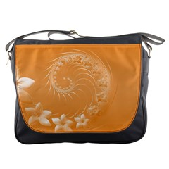 Orange Abstract Flowers Messenger Bag by BestCustomGiftsForYou