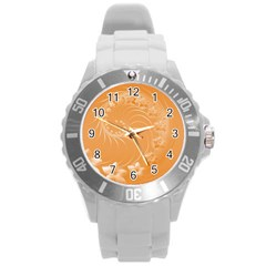 Orange Abstract Flowers Plastic Sport Watch (large) by BestCustomGiftsForYou