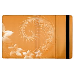 Orange Abstract Flowers Apple Ipad 2 Flip Case by BestCustomGiftsForYou