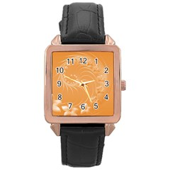 Orange Abstract Flowers Rose Gold Leather Watch  by BestCustomGiftsForYou