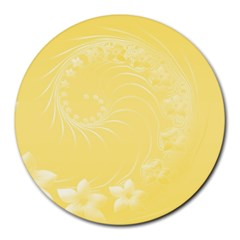 Yellow Abstract Flowers 8  Mouse Pad (round) by BestCustomGiftsForYou