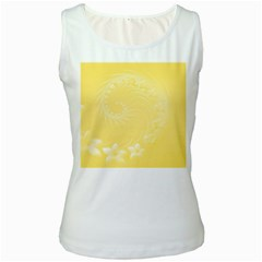 Yellow Abstract Flowers Womens  Tank Top (white) by BestCustomGiftsForYou