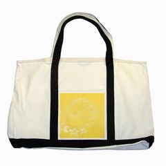 Yellow Abstract Flowers Two Toned Tote Bag by BestCustomGiftsForYou