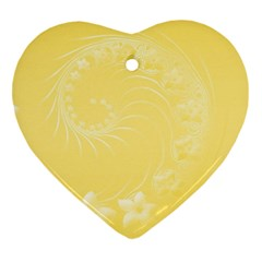 Yellow Abstract Flowers Heart Ornament (two Sides) by BestCustomGiftsForYou