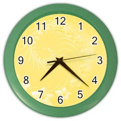 Yellow Abstract Flowers Wall Clock (color) by BestCustomGiftsForYou