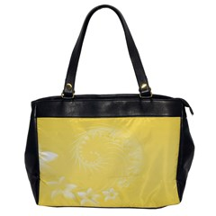 Yellow Abstract Flowers Oversize Office Handbag (one Side) by BestCustomGiftsForYou