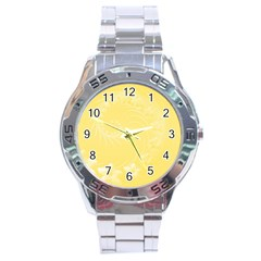Yellow Abstract Flowers Stainless Steel Watch (men s) by BestCustomGiftsForYou