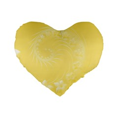Yellow Abstract Flowers 16  Premium Heart Shape Cushion  by BestCustomGiftsForYou