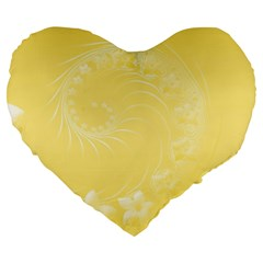 Yellow Abstract Flowers 19  Premium Heart Shape Cushion