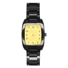 Yellow Abstract Flowers Men s Stainless Steel Barrel Analog Watch by BestCustomGiftsForYou