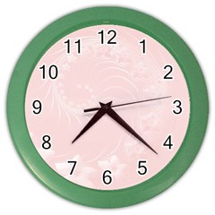 Light Pink Abstract Flowers Wall Clock (color) by BestCustomGiftsForYou