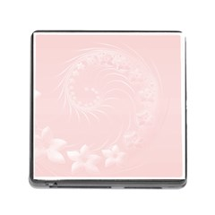 Light Pink Abstract Flowers Memory Card Reader With Storage (square) by BestCustomGiftsForYou