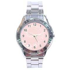 Light Pink Abstract Flowers Stainless Steel Watch (men s) by BestCustomGiftsForYou