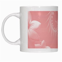 Pink Abstract Flowers White Coffee Mug by BestCustomGiftsForYou