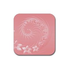 Pink Abstract Flowers Drink Coaster (square) by BestCustomGiftsForYou