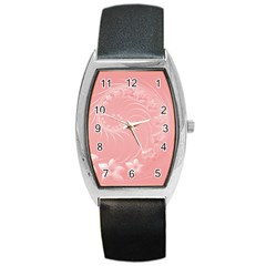 Pink Abstract Flowers Tonneau Leather Watch by BestCustomGiftsForYou