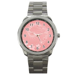 Pink Abstract Flowers Sport Metal Watch by BestCustomGiftsForYou