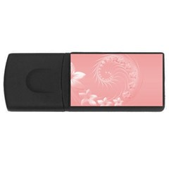 Pink Abstract Flowers 4gb Usb Flash Drive (rectangle) by BestCustomGiftsForYou
