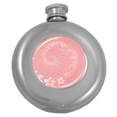 Pink Abstract Flowers Hip Flask (round) by BestCustomGiftsForYou
