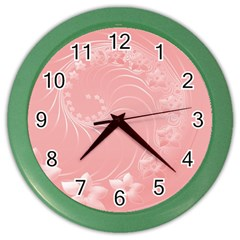 Pink Abstract Flowers Wall Clock (color) by BestCustomGiftsForYou