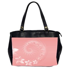 Pink Abstract Flowers Oversize Office Handbag (two Sides)