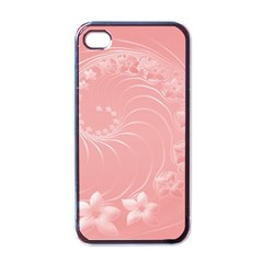 Pink Abstract Flowers Apple Iphone 4 Case (black) by BestCustomGiftsForYou