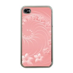 Pink Abstract Flowers Apple Iphone 4 Case (clear) by BestCustomGiftsForYou
