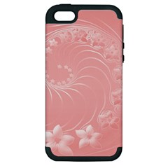 Pink Abstract Flowers Apple Iphone 5 Hardshell Case (pc+silicone) by BestCustomGiftsForYou