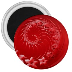 Red Abstract Flowers 3  Button Magnet by BestCustomGiftsForYou