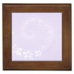 Pastel Violet Abstract Flowers Framed Ceramic Tile