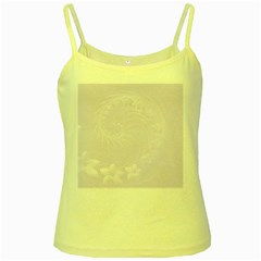 Pastel Violet Abstract Flowers Yellow Spaghetti Tank
