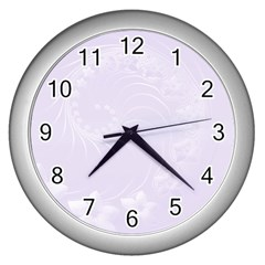 Pastel Violet Abstract Flowers Wall Clock (silver) by BestCustomGiftsForYou