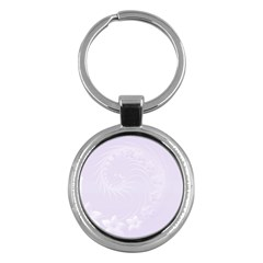 Pastel Violet Abstract Flowers Key Chain (round) by BestCustomGiftsForYou