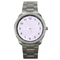 Pastel Violet Abstract Flowers Sport Metal Watch by BestCustomGiftsForYou