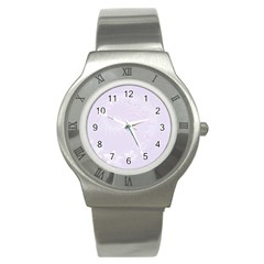 Pastel Violet Abstract Flowers Stainless Steel Watch (Unisex) by BestCustomGiftsForYou