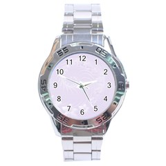 Pastel Violet Abstract Flowers Stainless Steel Watch (men s) by BestCustomGiftsForYou