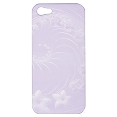 Pastel Violet Abstract Flowers Apple Iphone 5 Hardshell Case by BestCustomGiftsForYou