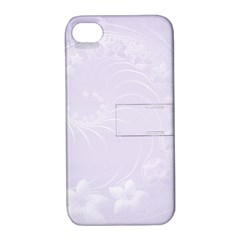 Pastel Violet Abstract Flowers Apple Iphone 4/4s Hardshell Case With Stand by BestCustomGiftsForYou