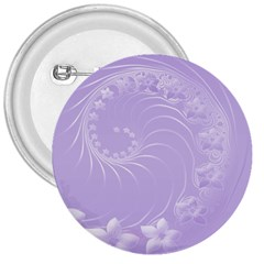 Light Violet Abstract Flowers 3  Button by BestCustomGiftsForYou