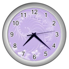 Light Violet Abstract Flowers Wall Clock (silver) by BestCustomGiftsForYou