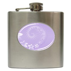 Light Violet Abstract Flowers Hip Flask by BestCustomGiftsForYou