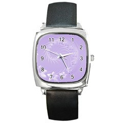 Light Violet Abstract Flowers Square Leather Watch by BestCustomGiftsForYou