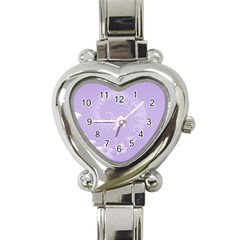 Light Violet Abstract Flowers Heart Italian Charm Watch  by BestCustomGiftsForYou